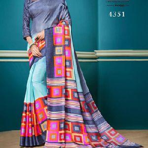 Sober Designer Prints Silky Fabric Saree