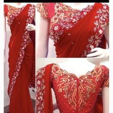 Fully Border Lace Work Saree With Embroidery Work