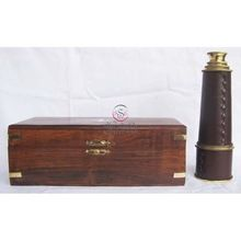 "18"" Brass Pullout Telescope W/wooden Box"