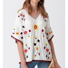 Women Embroidered Top V-neckline Half Sleeves Soft Fabric Comfortable Summer Wear