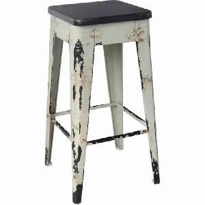 BAR STOOL WITH DISTRESSED WHITE BASE