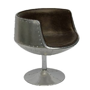 BROWN LEATHER AVIATOR STYLE CUP CHAIR