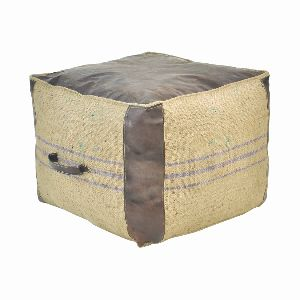 LEATHER and JUTE CUBE OTTOMAN