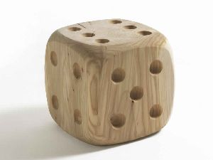 SOLID WOOD DICE DESIGN STOOL