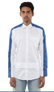 Mens White & Blue Shirt