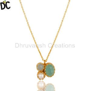 Pearl Aqua Chalcedony Gemstone Gold Plated Brass Chain Pendant