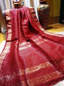 Designer Linen Mirror Work Checkered Sarees
