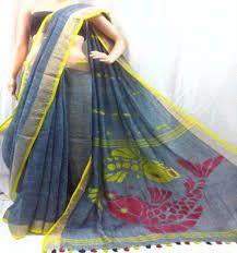 Designer Tussar Silk And Linen Jamdani Sarees