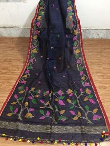 Embroidered Tussar Silk And Linen Jamdani Sarees