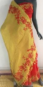 Fancy Embroidered Tissue Linen Sarees