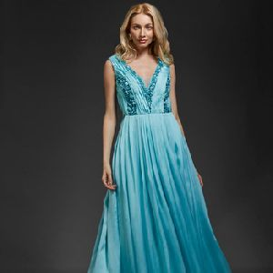 Khwaab Sky Blue Beaded Satin-georgette Gown