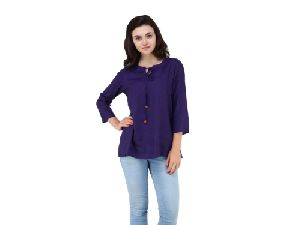 Women Rayon Plain Tunic Top