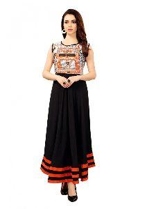Cotton Fabric Printed Black Kurti