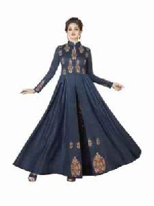 Cotton Gown Long Wear Blue Color Dress Printed Gown