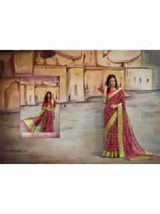 Nylon Silk Saree With Free Blouse