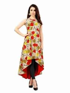 Printed Tunic Rayon Fabric Printed Beige And Multi Kurti