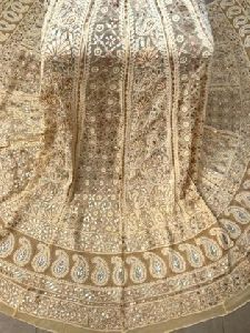 Beige Lucknowi Chikankari Lehenga With Silver Golden Gota Patti