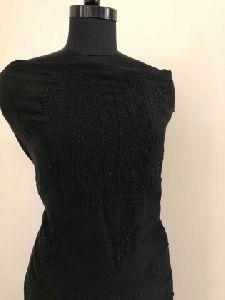 Black Chanderi Chikan Work Suit
