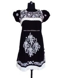 Black Cotton Kurta With Puff Sleeves
