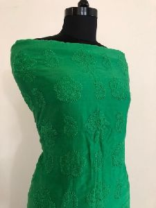 Bottle Green Chanderi Chikan Work Suit