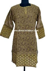 Brown Pure Cotton Chikan Kurti With Cut Work