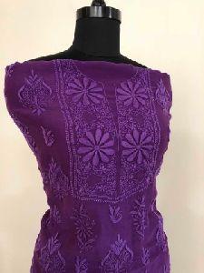 Deep Purple Chanderi Silk Chikan Work Suit