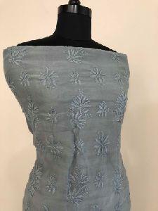 Grey Chanderi Silk Chikan Work Suit