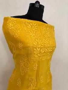 Orangish Yellow Chanderi Chikan Work Suit