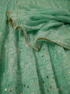 Pure Georgette Chikankari Anarkali With Dupatta