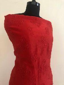 Red Chanderi Chikan Work Suit