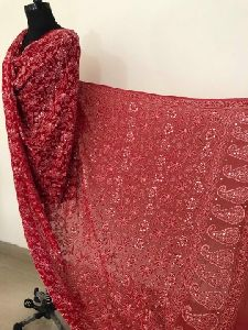 Red Pure Georgette Lucknowi Dupatta With Golden Mukaish