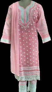 Rose Pink Stitched Chikankari Suit With Palazzos