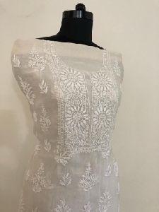 White Chanderi Chikan Work Suit