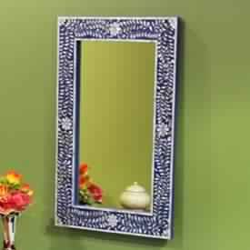 Blue Mother Of Pearl Inlay Mirror Frame