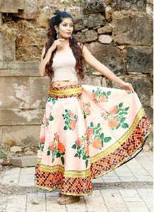 Multi Colour Readymade Fancy Banglori Satin Silk Skirt