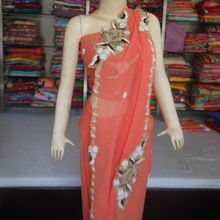 Indian Designer Embroidery Handwork Pure Georgette Saree