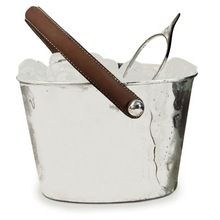 Stainless Steel Ice Bucket With Leather Handle