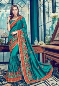Teal Colored Satin Silk Embroidered Saree.