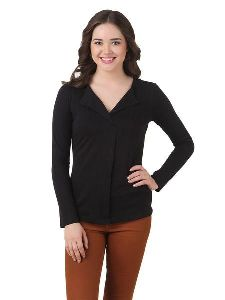 Cotton Jersey Different Collar Style Top