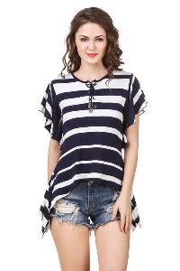 Stripe Butterfly Sleeve Drawstring Neckline Stylish Trendy Top