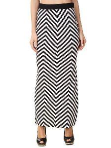 Stripe Full Length Side Slit Skirt