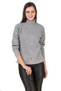 Turtle Neck Full Sleeve With Cut Out Zippered Detailing Winter Sweat Shirt