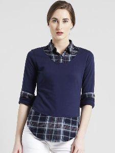 Women Cotton Jersey Spread Collar Roll Up Sleeve Checks Shirt