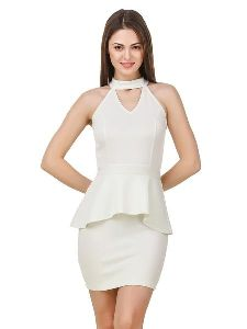 Women Cut Out Neck Off White Party Dress