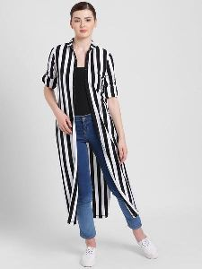 Women High Round Collar Stripe Shrug