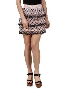 Women Polyester Lace Mini Skirt