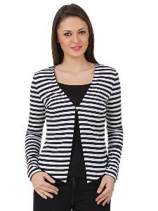 Women Stripe Blazer Shrug