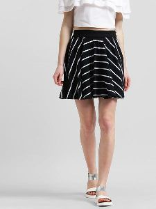 Women Striped Short Flared Skirt