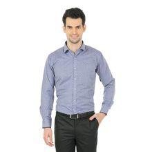 Zido Navy Slim Fit Jacquard Men Shirt