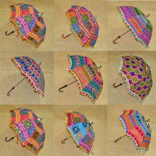 Cotton Parasol Colorful Embroidered Patchwork Umbrella